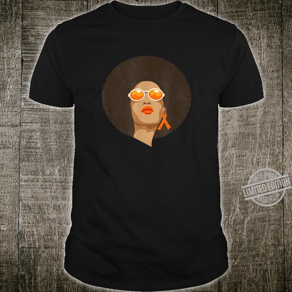 Afro Pride Kidney Cancer Awareness Orange Ribbon Support Shirt
