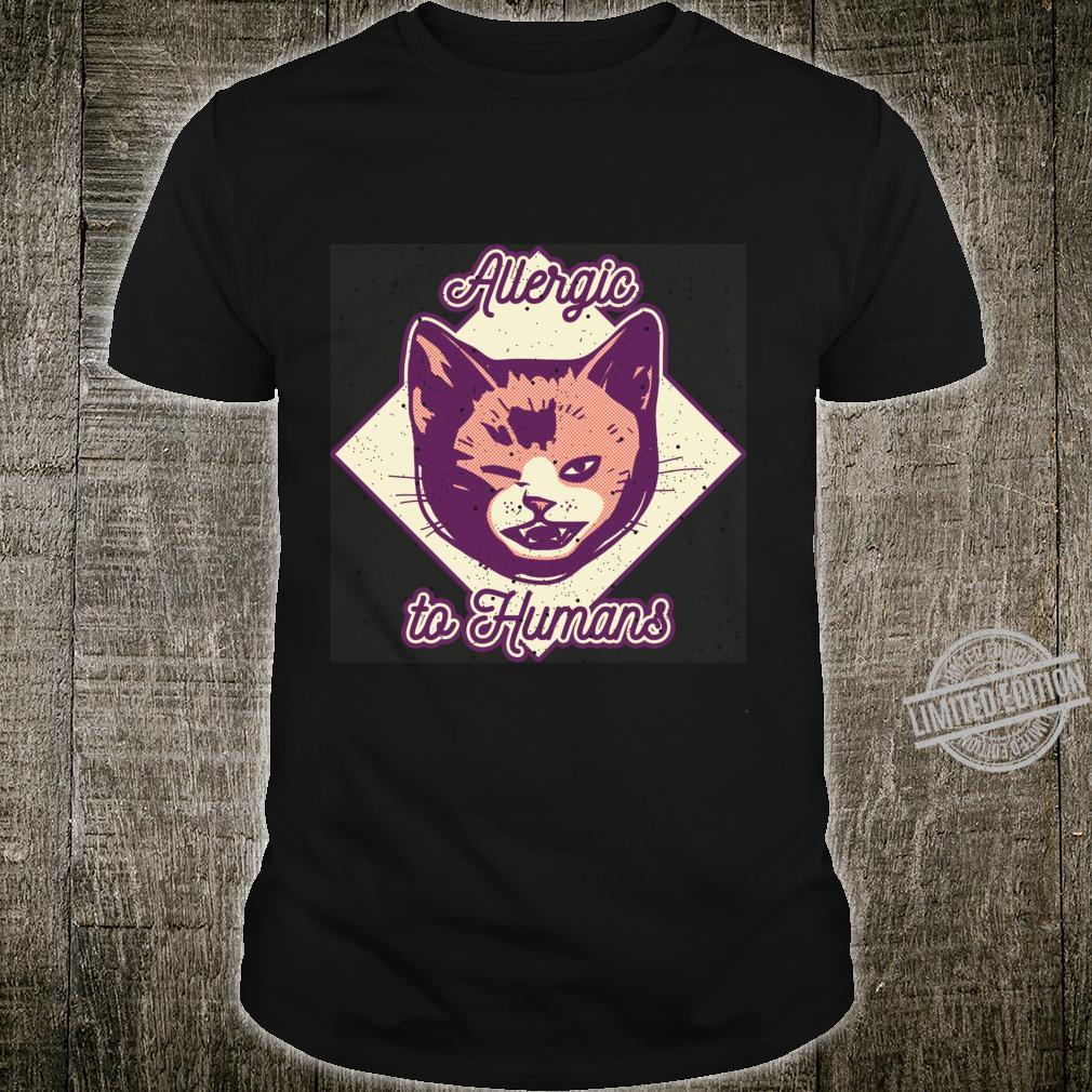 Allergic to Humans Cute Cat Face by Finja Design Shirt