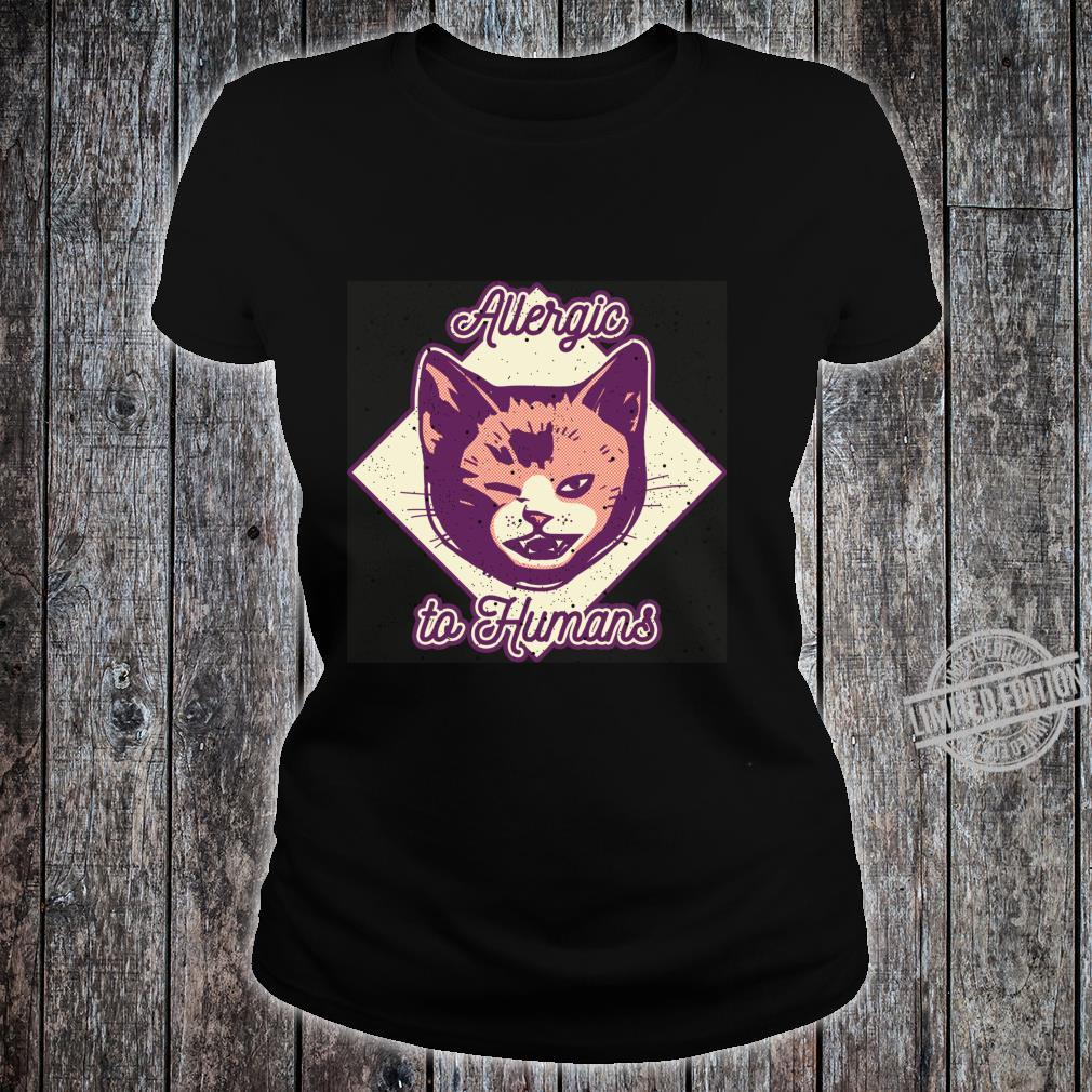 Allergic to Humans Cute Cat Face by Finja Design Shirt ladies tee