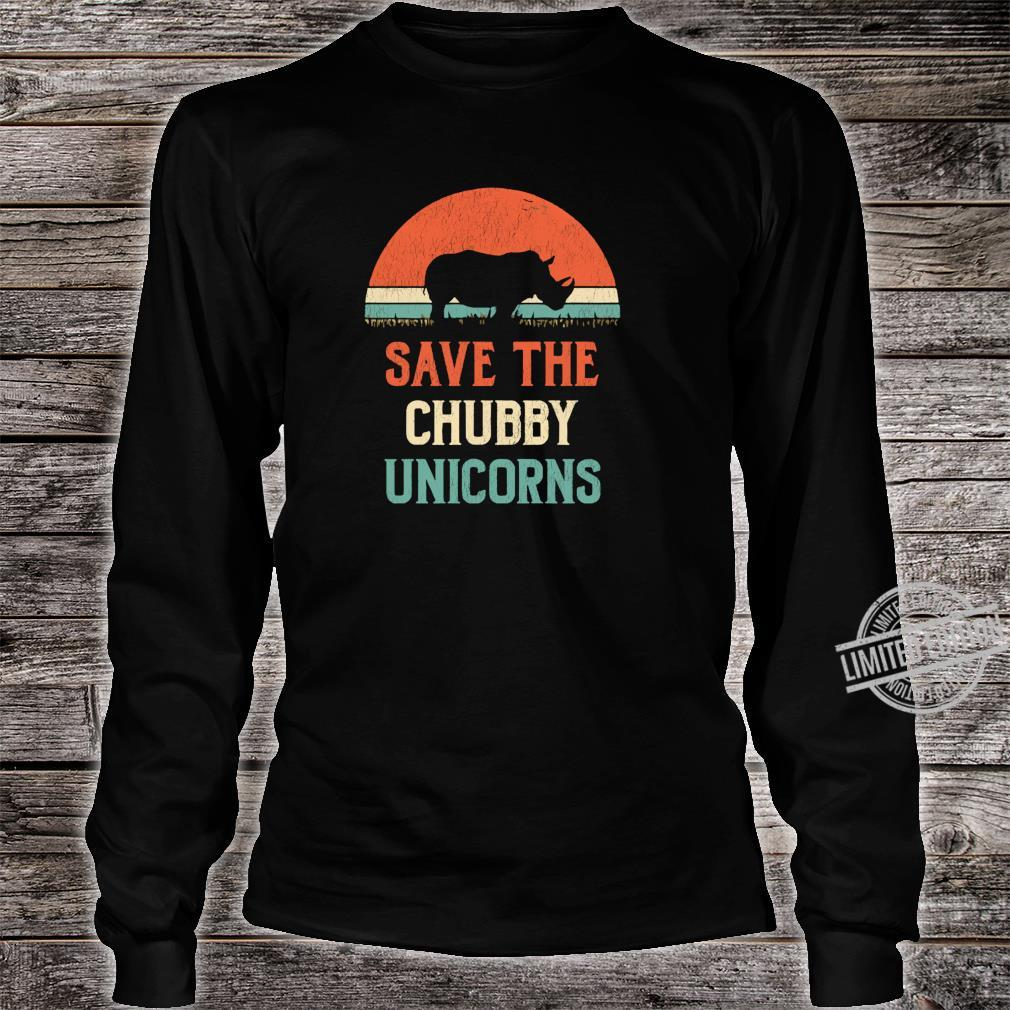 Animal Rights Save The Chubby Unicorns Vintage Rhino Shirt long sleeved