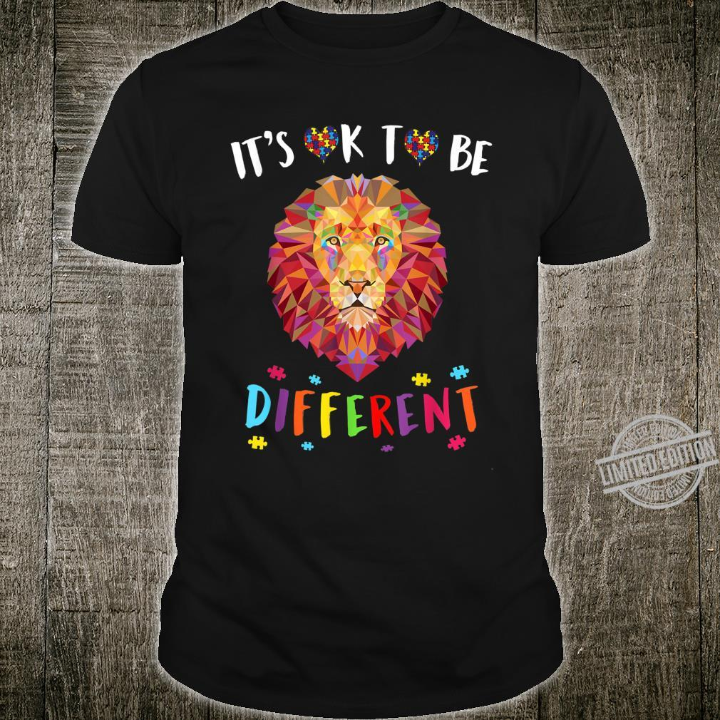 Autism Awareness Shirt It's OK to be different Colorful Lion Shirt