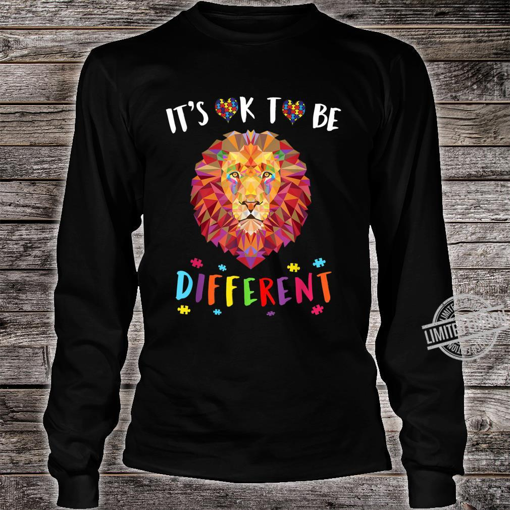Autism Awareness Shirt It's OK to be different Colorful Lion Shirt long sleeved