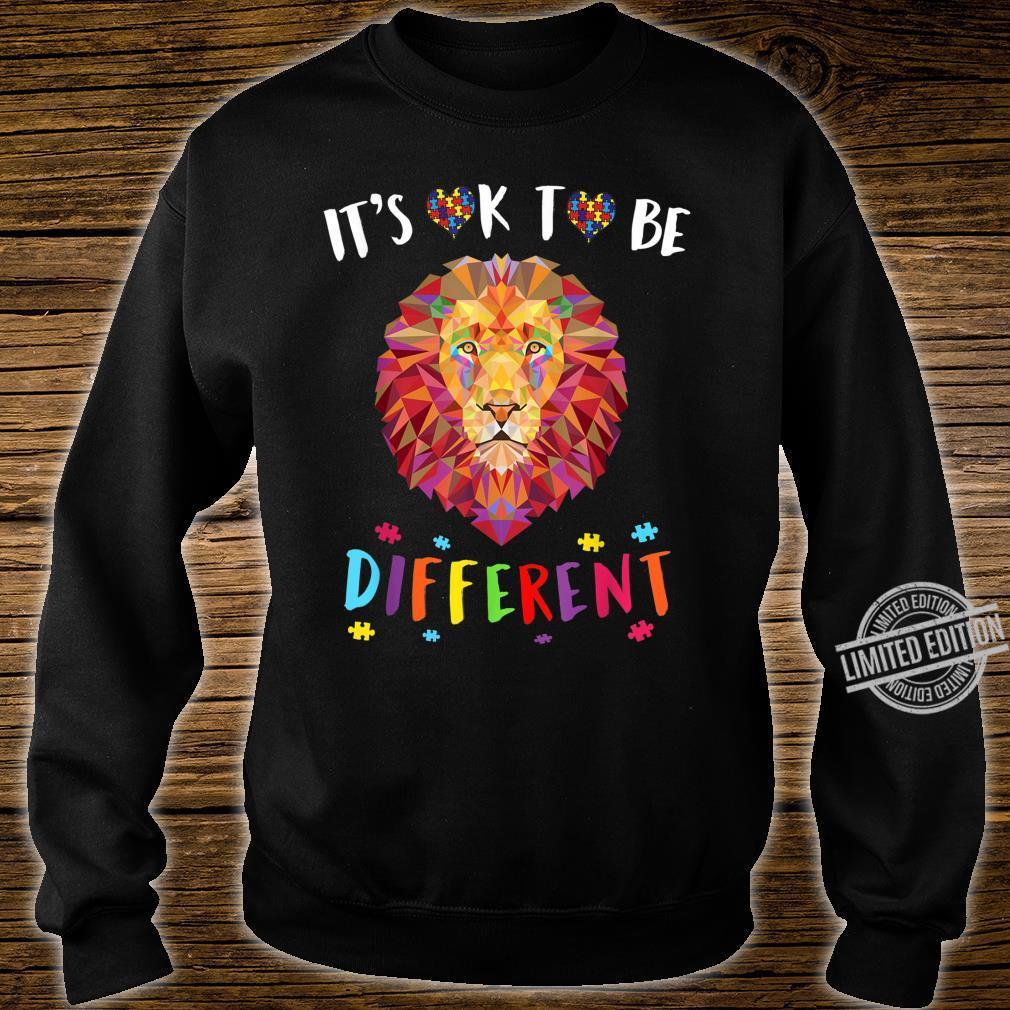 Autism Awareness Shirt It's OK to be different Colorful Lion Shirt sweater