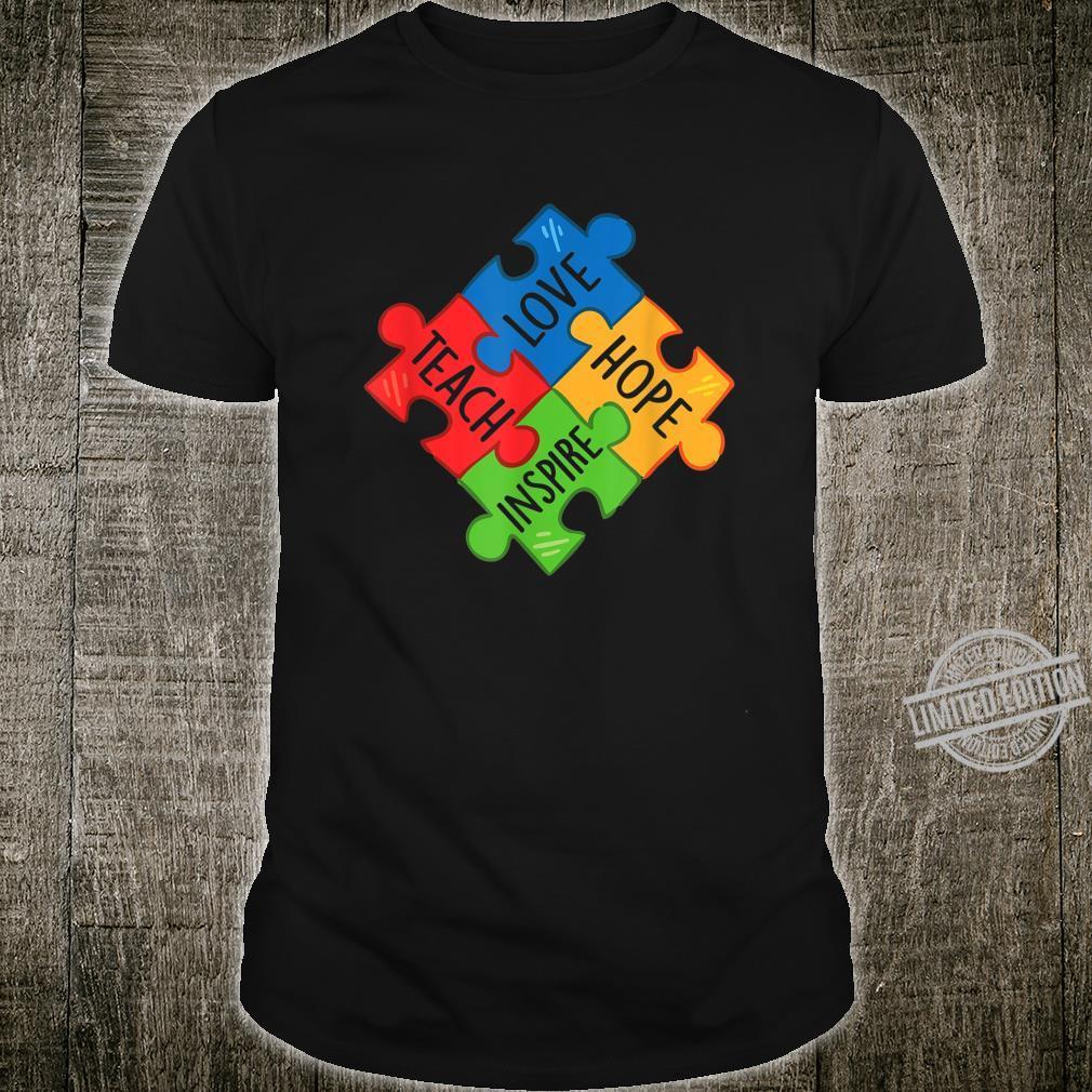 Autism Awareness Teacher Teach Hope Love Inspire Shirt