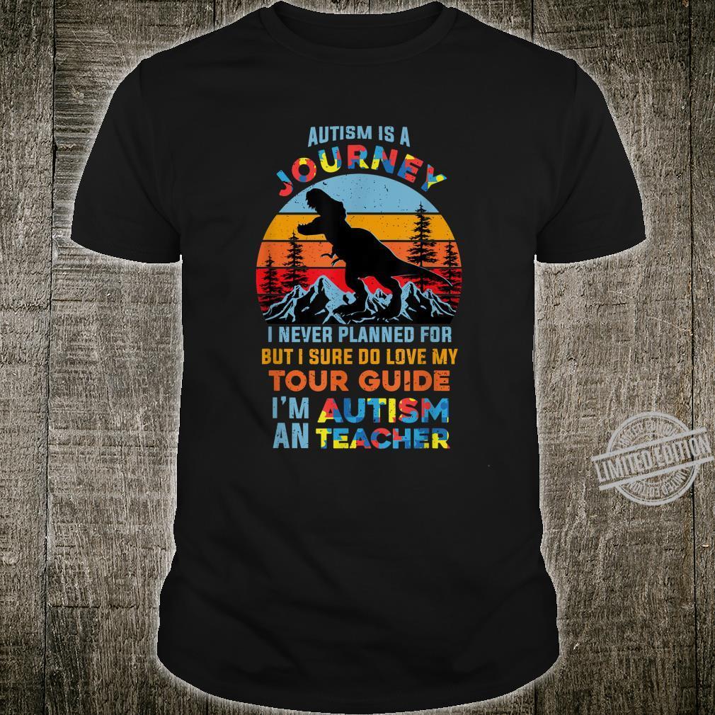 Autism is a Journey Tour Guide Autism Teacher Dinosaur Retro Shirt