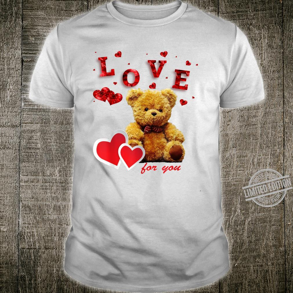 Beautiful on valentine's day little bear & red hearts Shirt