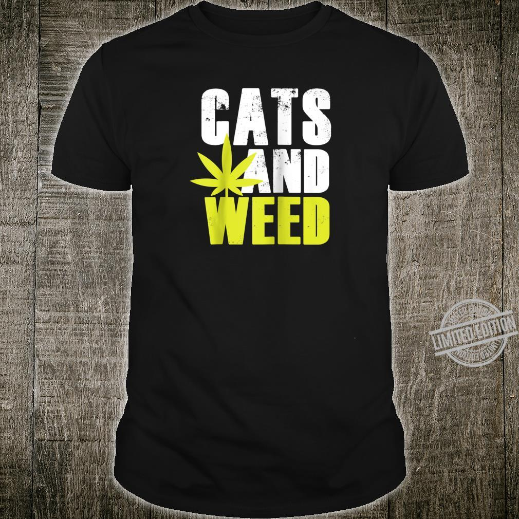 Cats and Weed Marijuana Pot Leaf Silhouette Image Shirt
