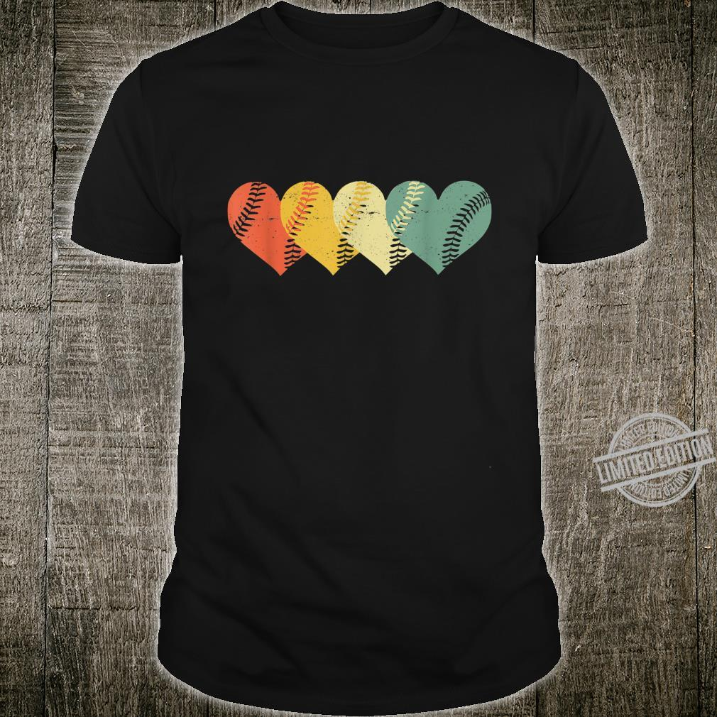 Cool Retro Vintage Softball Hearts Valentine's Day Shirt