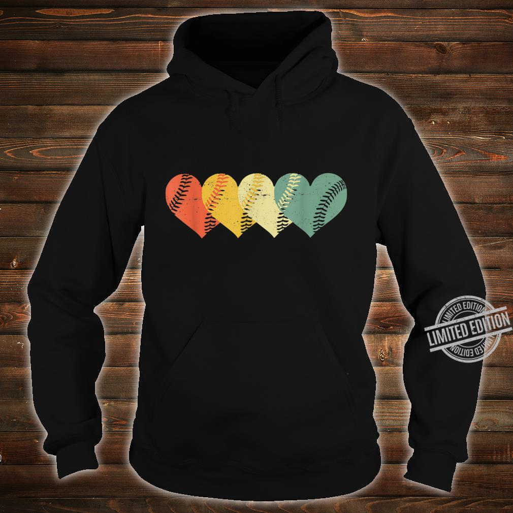 Cool Retro Vintage Softball Hearts Valentine's Day Shirt hoodie
