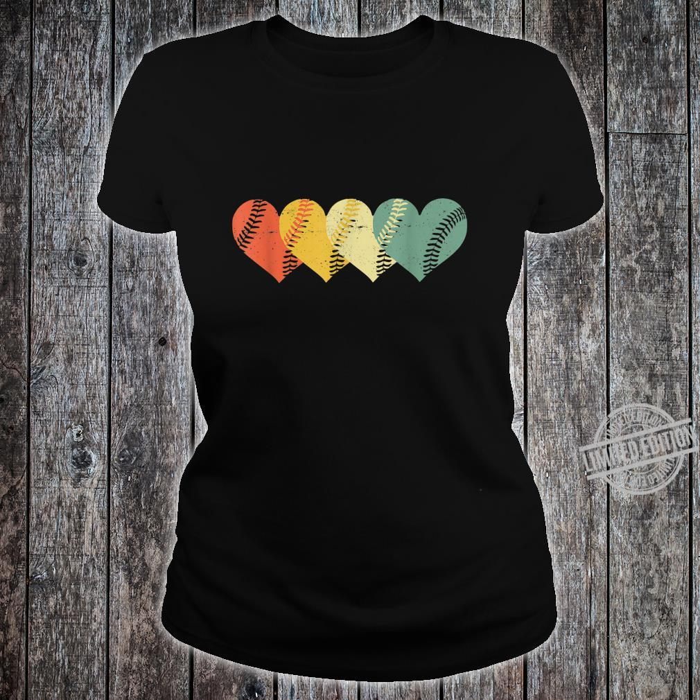 Cool Retro Vintage Softball Hearts Valentine's Day Shirt ladies tee