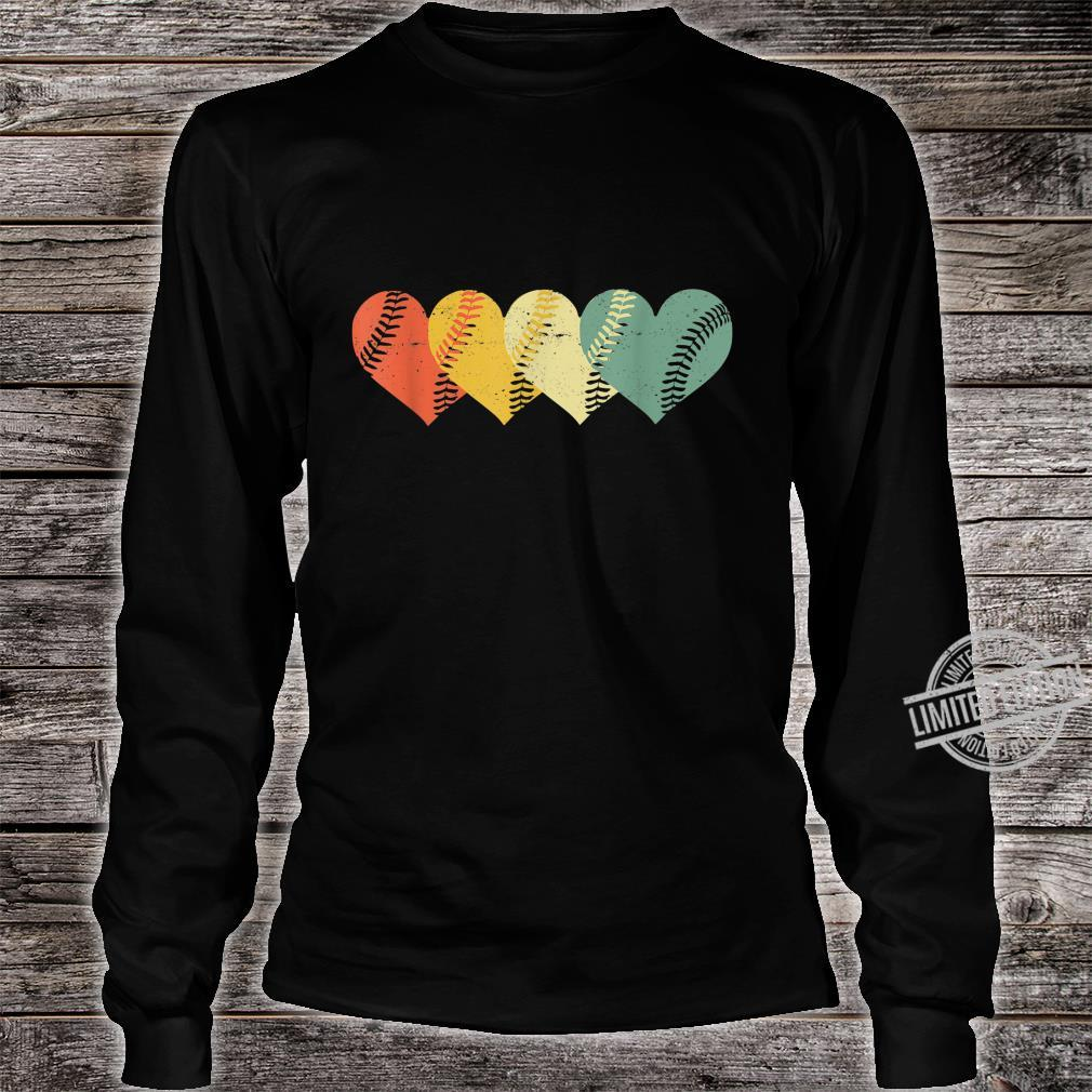 Cool Retro Vintage Softball Hearts Valentine's Day Shirt long sleeved