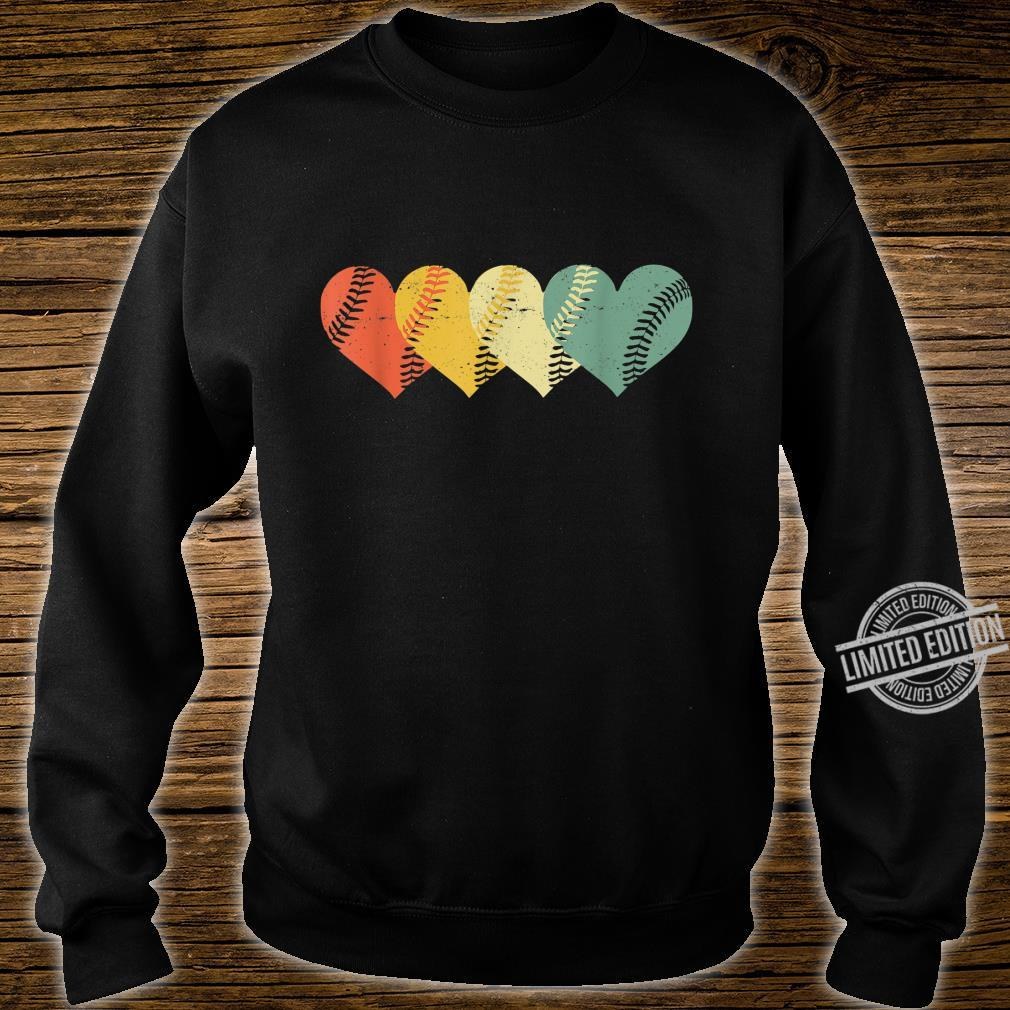 Cool Retro Vintage Softball Hearts Valentine's Day Shirt sweater