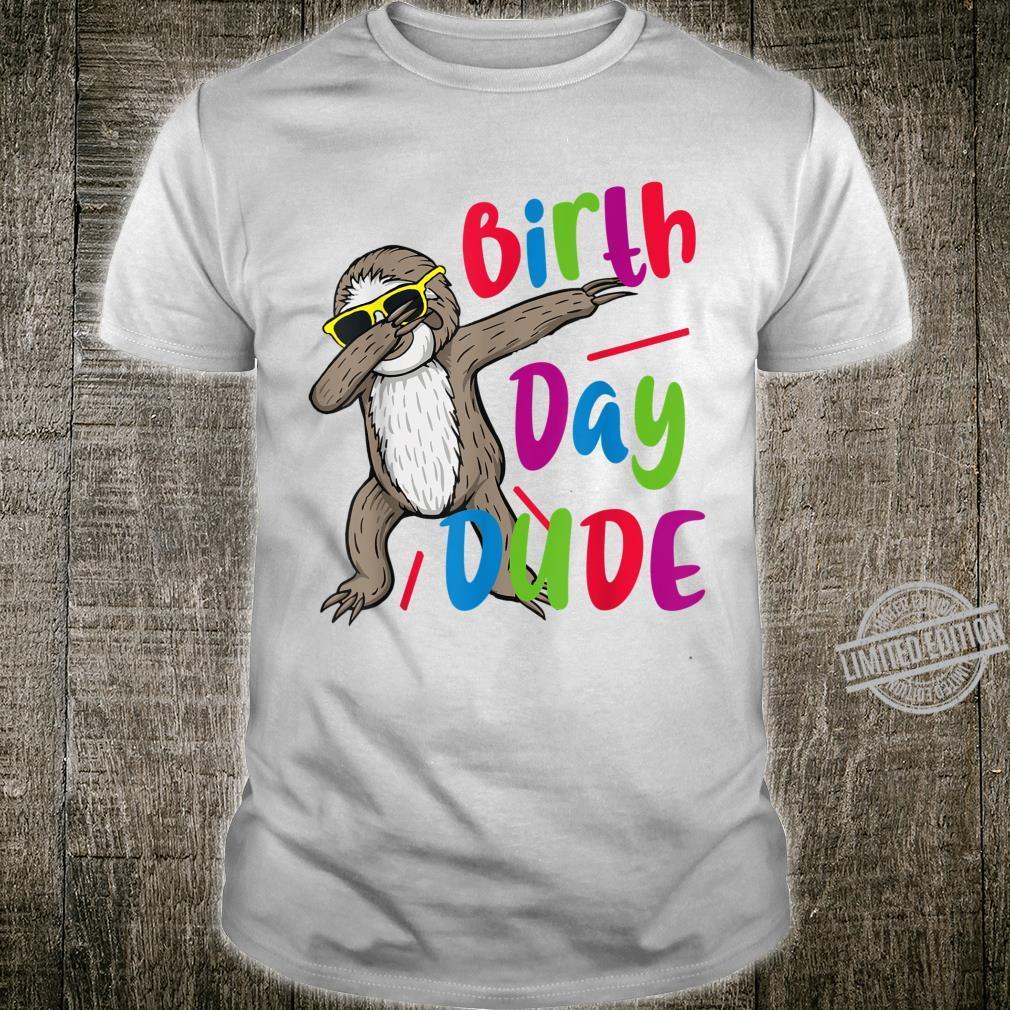 Dabbing Sloth Birthday Dude Shirt Cool Sunglasses Sloth Boys Shirt
