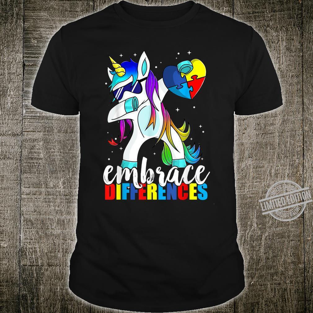 Dabbing Unicorn Embrace Differences Boys Girls Adults Shirt