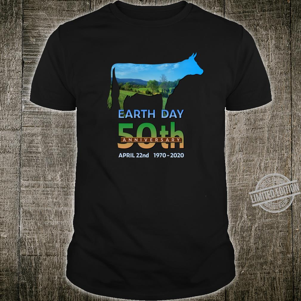 Earth Day 50th Anniversary Dairy Farm Cow Silhouette Shirt