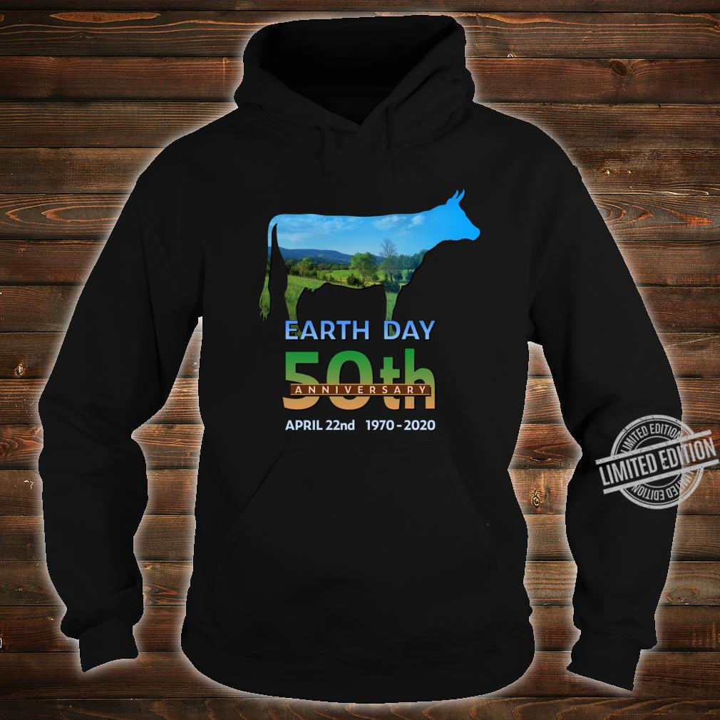 Earth Day 50th Anniversary Dairy Farm Cow Silhouette Shirt hoodie