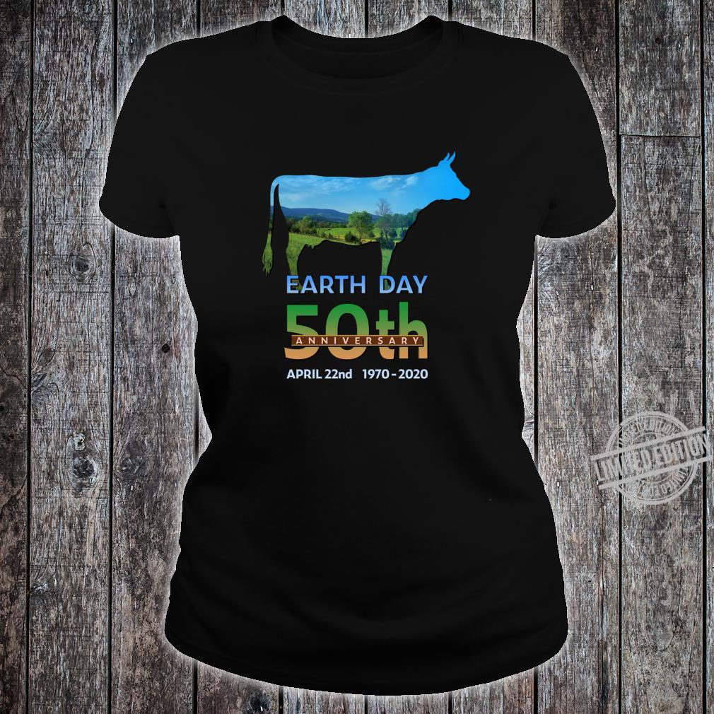 Earth Day 50th Anniversary Dairy Farm Cow Silhouette Shirt ladies tee
