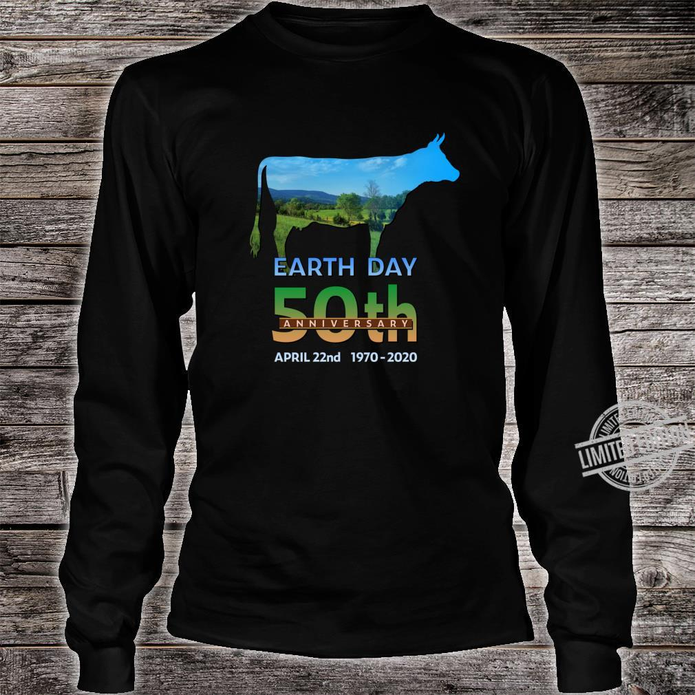 Earth Day 50th Anniversary Dairy Farm Cow Silhouette Shirt long sleeved