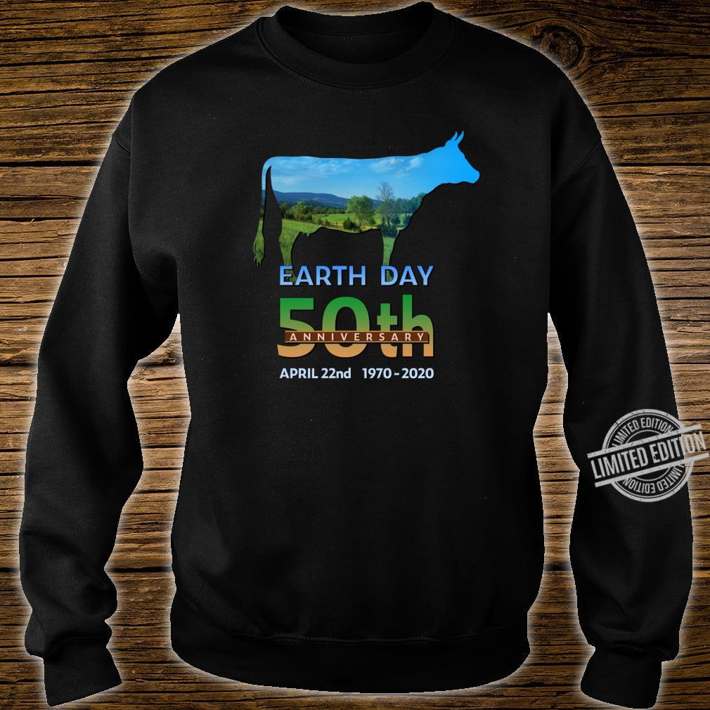 Earth Day 50th Anniversary Dairy Farm Cow Silhouette Shirt sweater