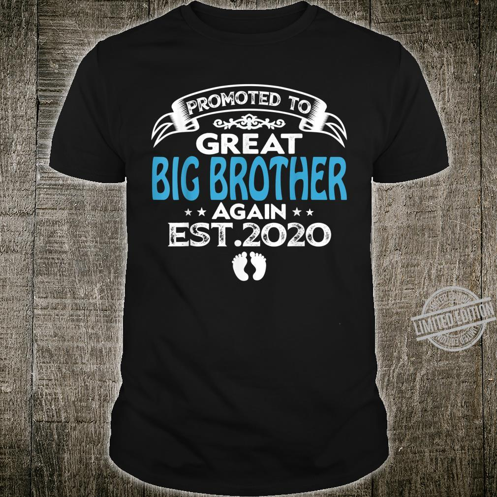 Father's Day Promoted To Great Big Brother Again Est 2020 Shirt