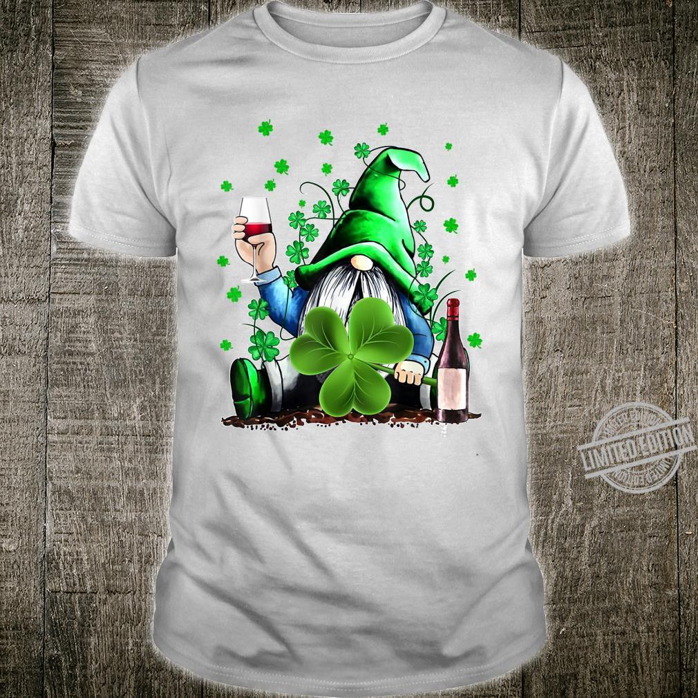Gnome Wine Shamrock Clover St Patrick's Day Shirt