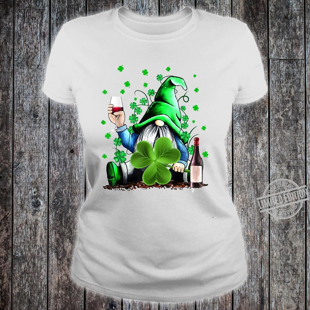 Gnome Wine Shamrock Clover St Patrick's Day Shirt ladies tee