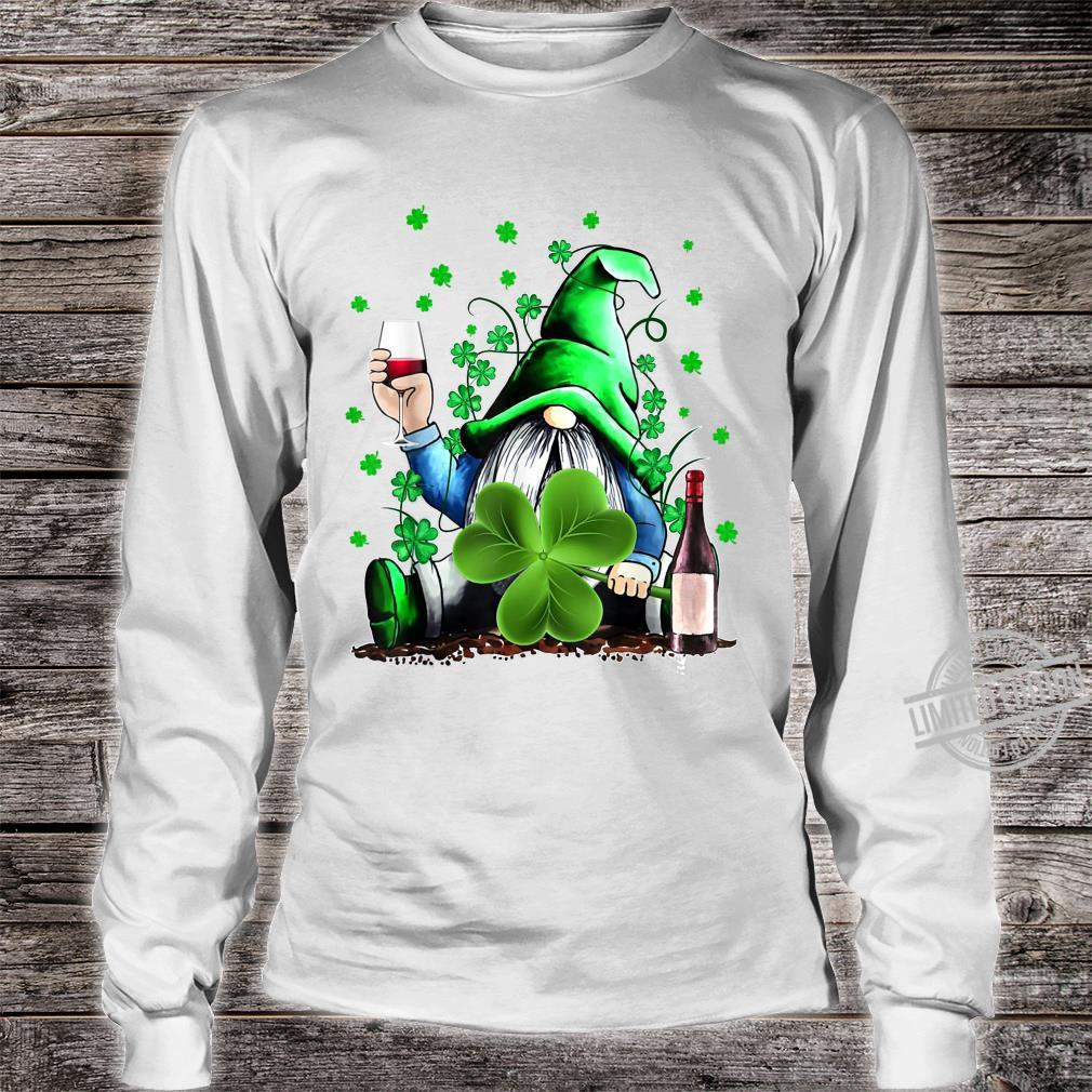 Gnome Wine Shamrock Clover St Patrick's Day Shirt long sleeved