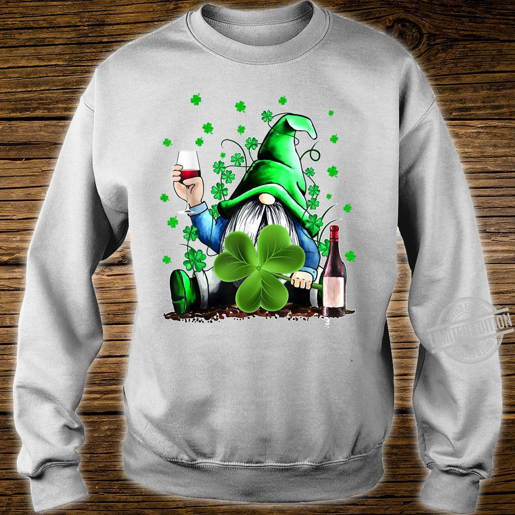 Gnome Wine Shamrock Clover St Patrick's Day Shirt sweater
