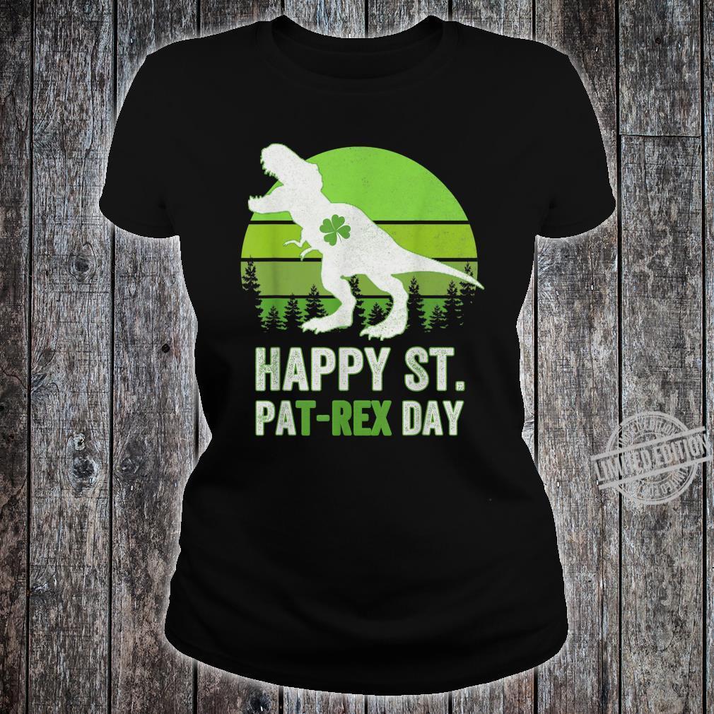 Happy St Pat T Rex Saint Patrick's Day Dinosaur Shirt ladies tee