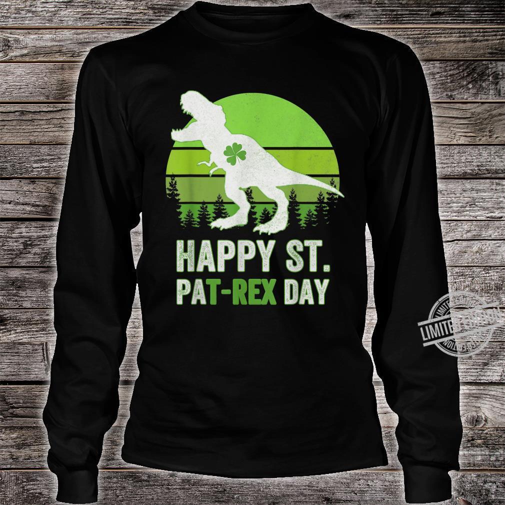 Happy St Pat T Rex Saint Patrick's Day Dinosaur Shirt long sleeved