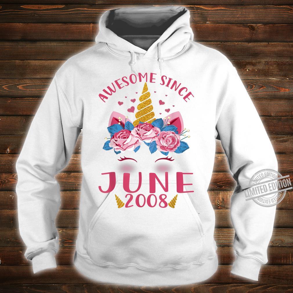 Kids 12th Birthday Girl Unicorn Awesome Since June 2008 Shirt hoodie