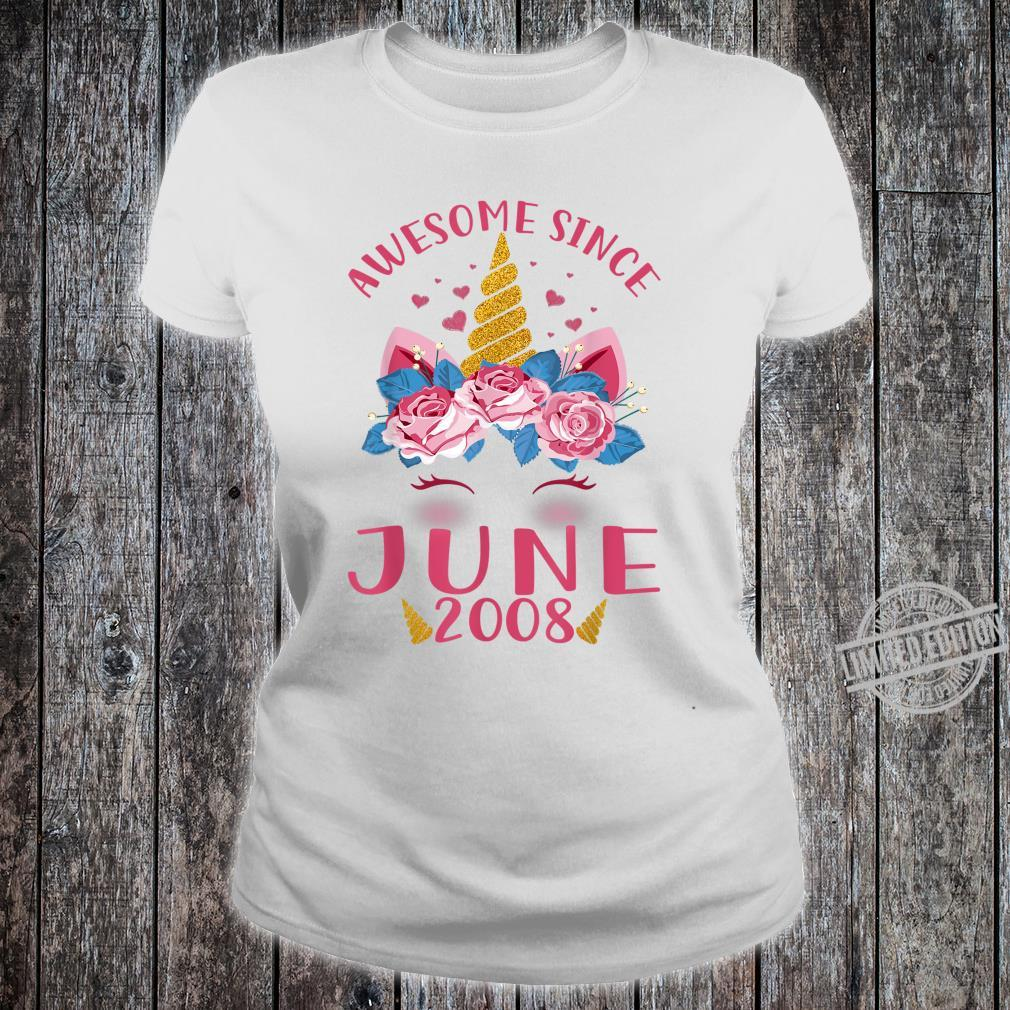 Kids 12th Birthday Girl Unicorn Awesome Since June 2008 Shirt ladies tee