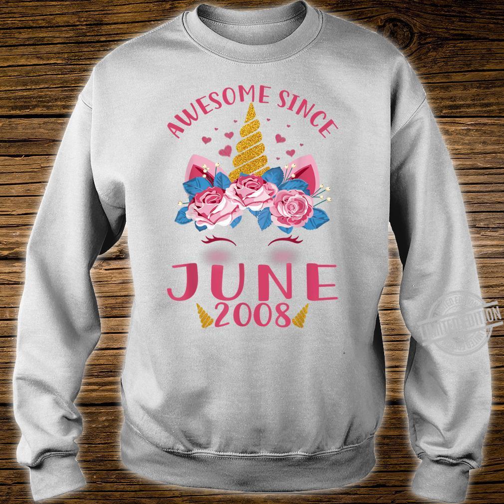 Kids 12th Birthday Girl Unicorn Awesome Since June 2008 Shirt sweater