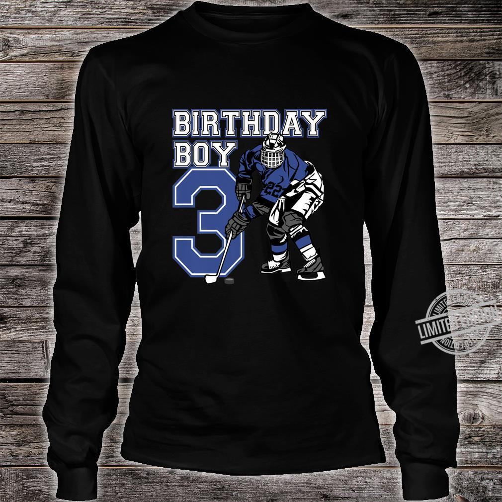 Kids 3 Year Old Ice Hockey Themed Birthday Party 3rd Boy Shirt long sleeved