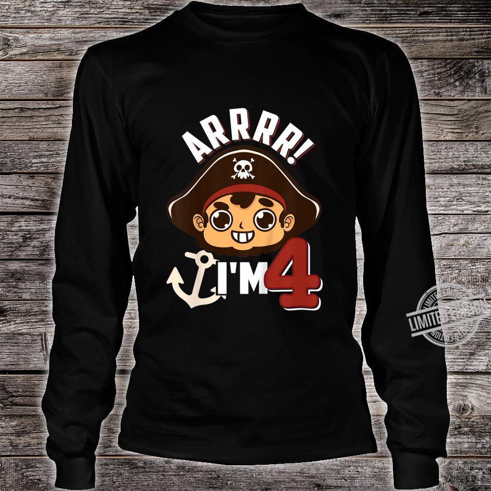 Kids 4 Year Old Pirate Birthday Shirt long sleeved
