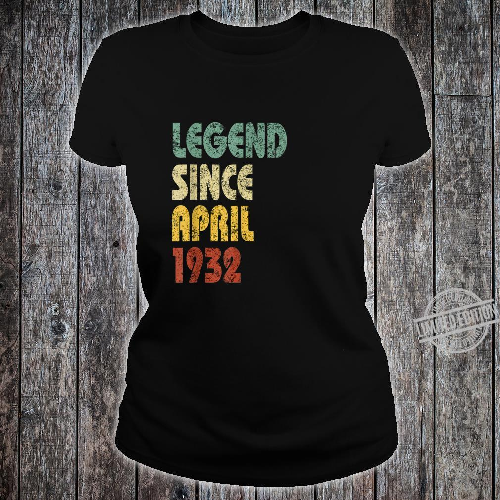 Legend Since April 1932 Born In Retro Birthday Shirt ladies tee