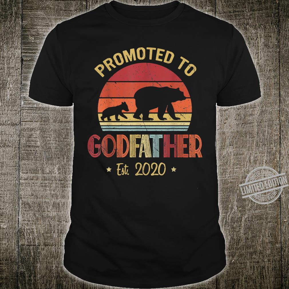 Mens Vintage Bear Promoted to Godfather Est 2020 Father's Day Shirt