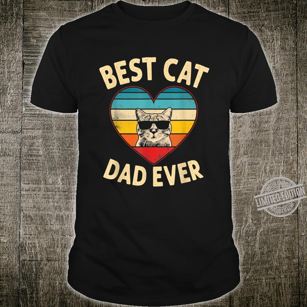 Mens Vintage Heart Best Cat Dad Ever Father Day Shirt