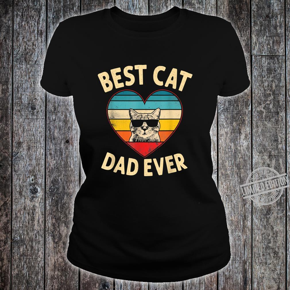 Mens Vintage Heart Best Cat Dad Ever Father Day Shirt ladies tee
