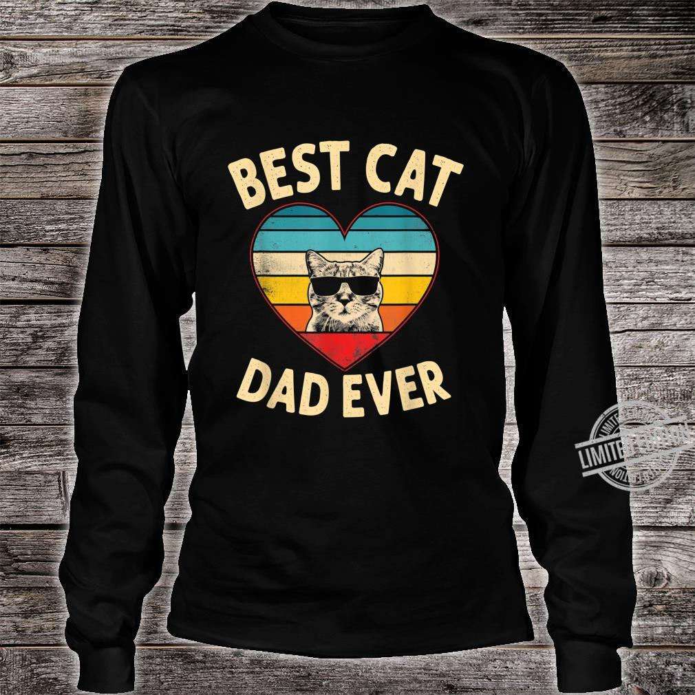 Mens Vintage Heart Best Cat Dad Ever Father Day Shirt long sleeved