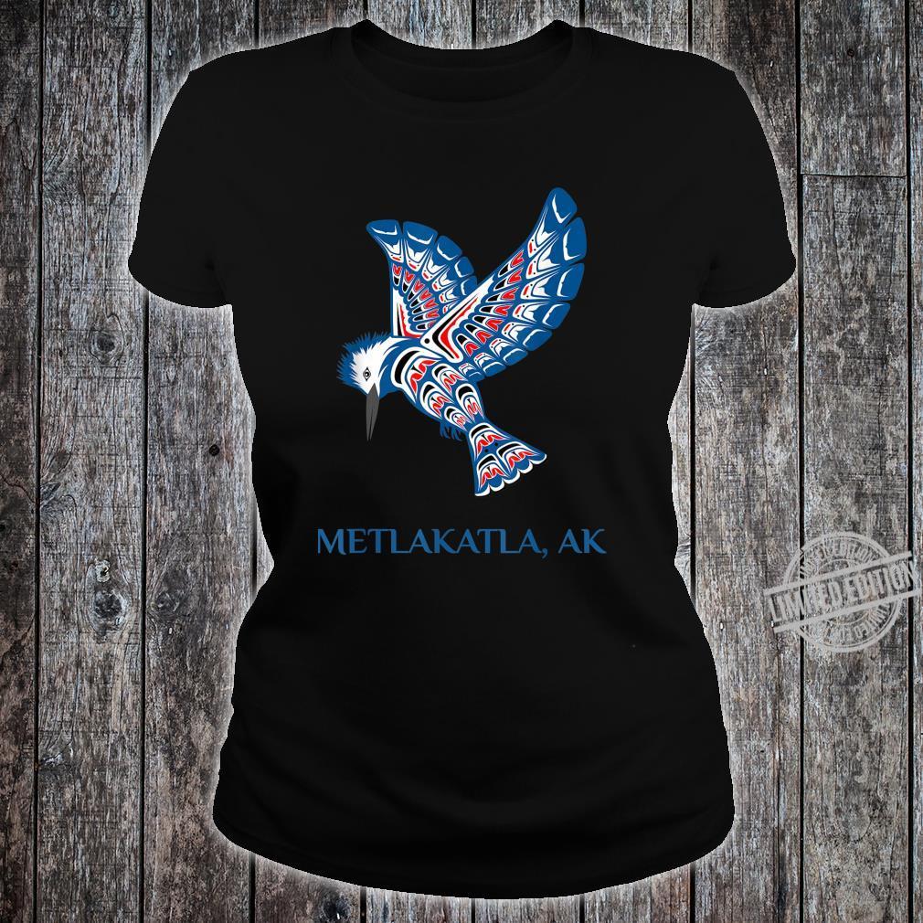 Metlakatla Alaska Kingfisher Native American Indian Bird Shirt ladies tee