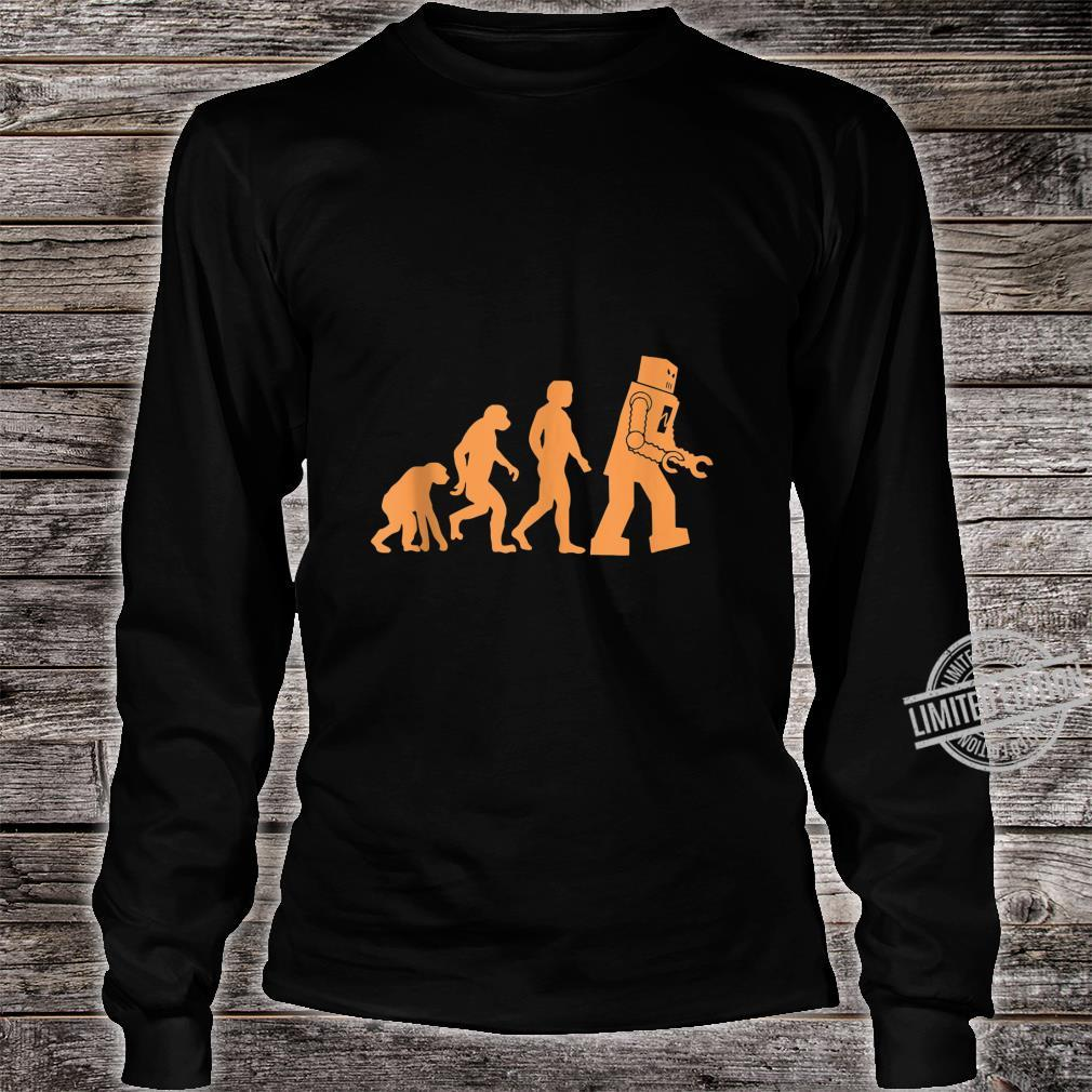 Prehistoric Ape to Monkey to Man to Robot Evolution Shirt long sleeved