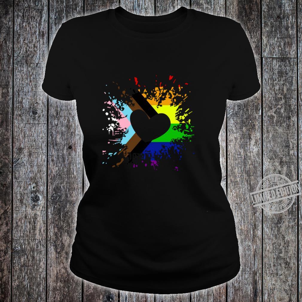 Progress Pride Rainbow Flag für Inklusivität Langarmshirt Shirt ladies tee