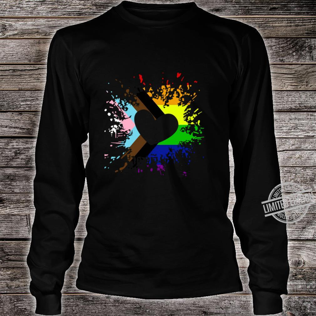 Progress Pride Rainbow Flag für Inklusivität Langarmshirt Shirt long sleeved