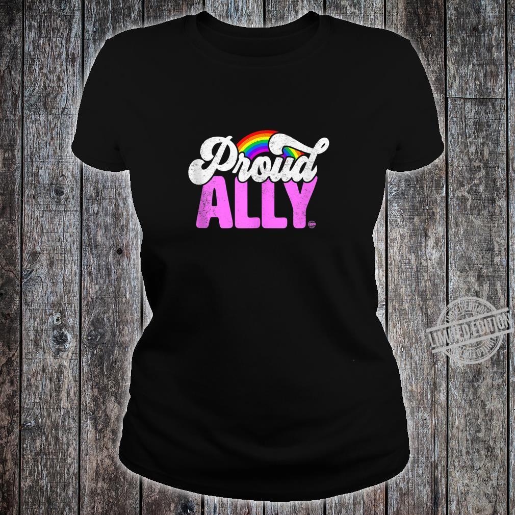 Proud Ally Rainbow LGBT Gay Pride Month Shirt ladies tee