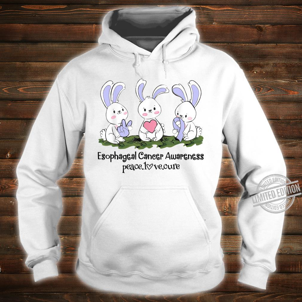 Rabbits Periwinkle Ribbon Esophageal Cancer Peace Love Cure Shirt hoodie