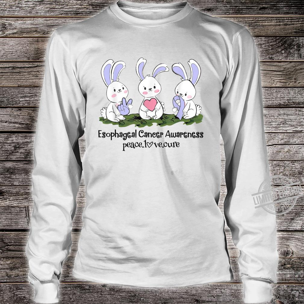 Rabbits Periwinkle Ribbon Esophageal Cancer Peace Love Cure Shirt long sleeved
