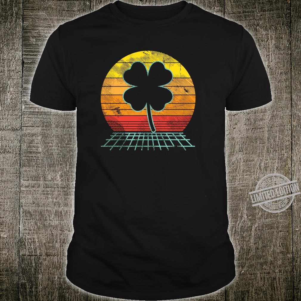 Retro Sunset Vaporwave Shamrock Clover Irish St Patricks Day Shirt