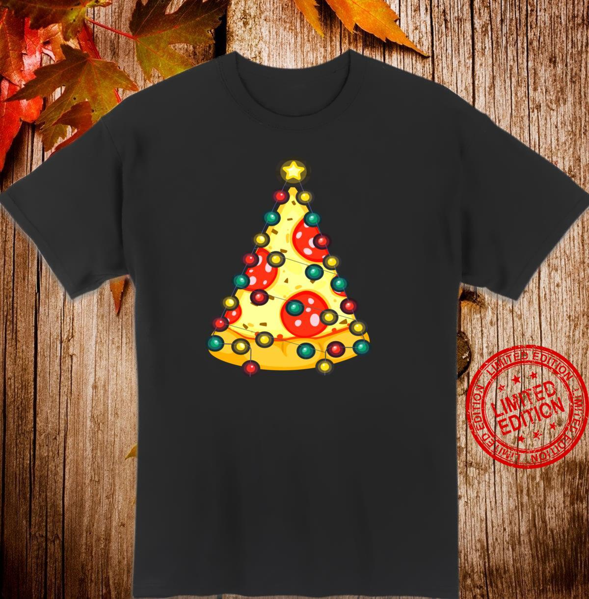 Santa Pizza Christmas Twinkling Lights Pizza Shirt