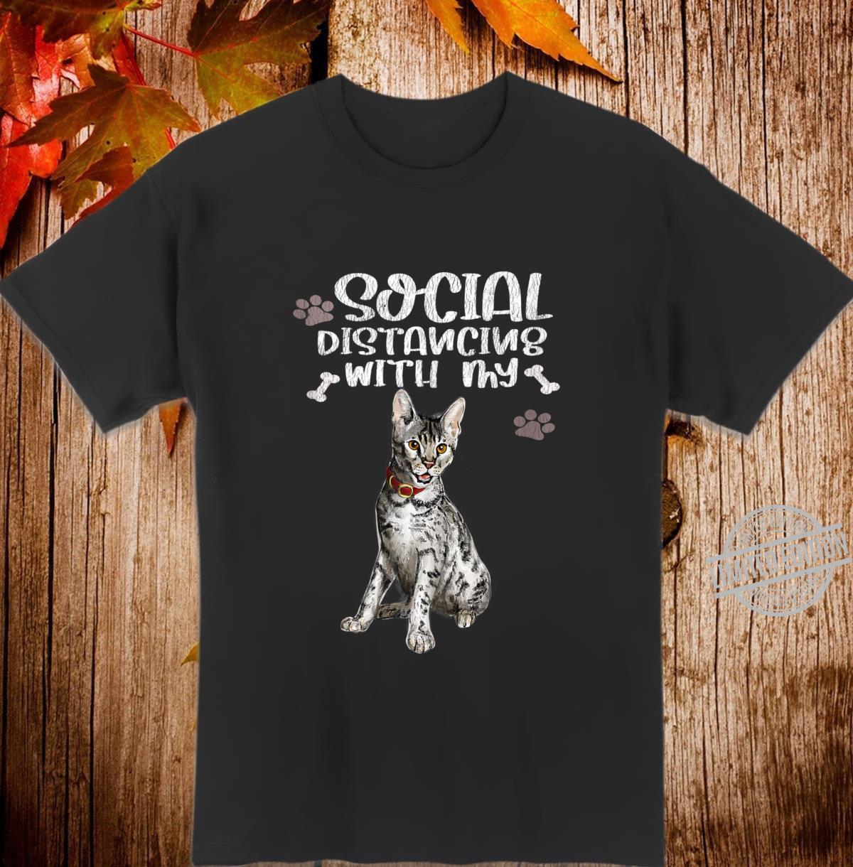 Social Distancing With My Cat Kittens Cat Quarantine Shirt